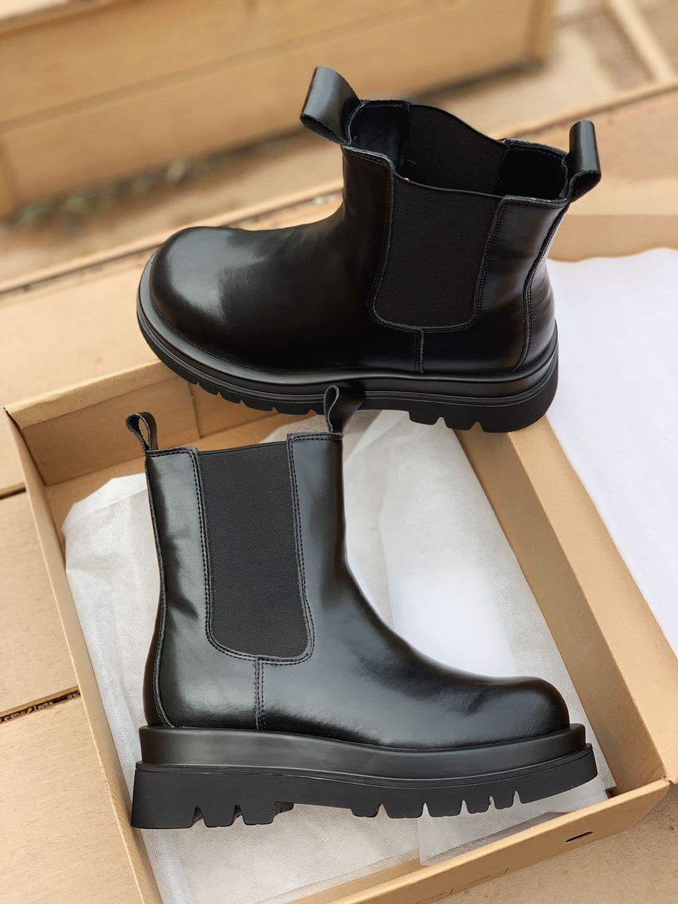 """Зимние ботинки Bottega Veneta Chelsea Mid """"Черные"""""""