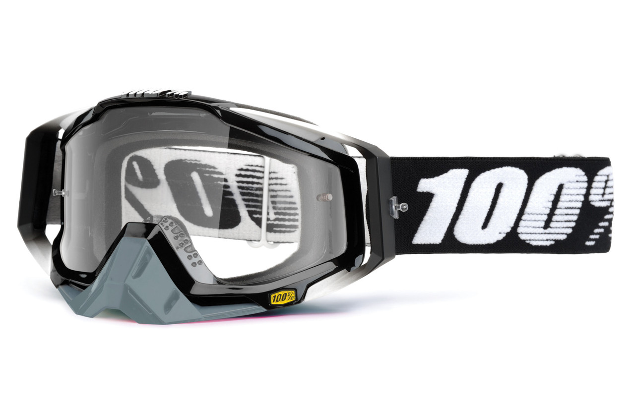 Кроссовые мотоочки 100 % RACECRAFT Goggle Abyss Black - Clear Lens