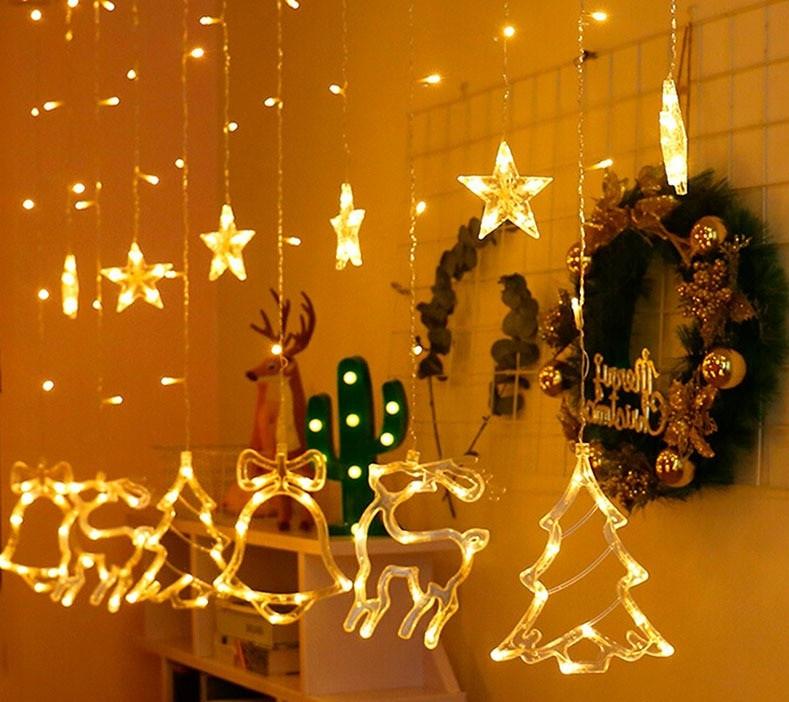 Гирлянды - штора со звёздами, елочкой, оленями и колокольчиками