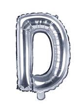 """Фольгированный шар буква """"D"""" серебряный 16"""""""