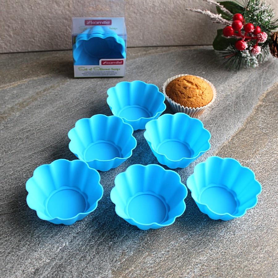 Набор из 6 силиконовых форм для кексов 7.5*7.5*3см