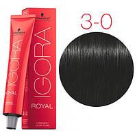 Перманентная крем-краска IGORA ROYAL Naturals, Schwarzkopf Professional 60 мл. 3-0 Темно-коричневый натуральный