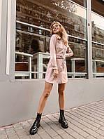 Женское модное платье замш на дайвинге с длинным рукавом (пудра)