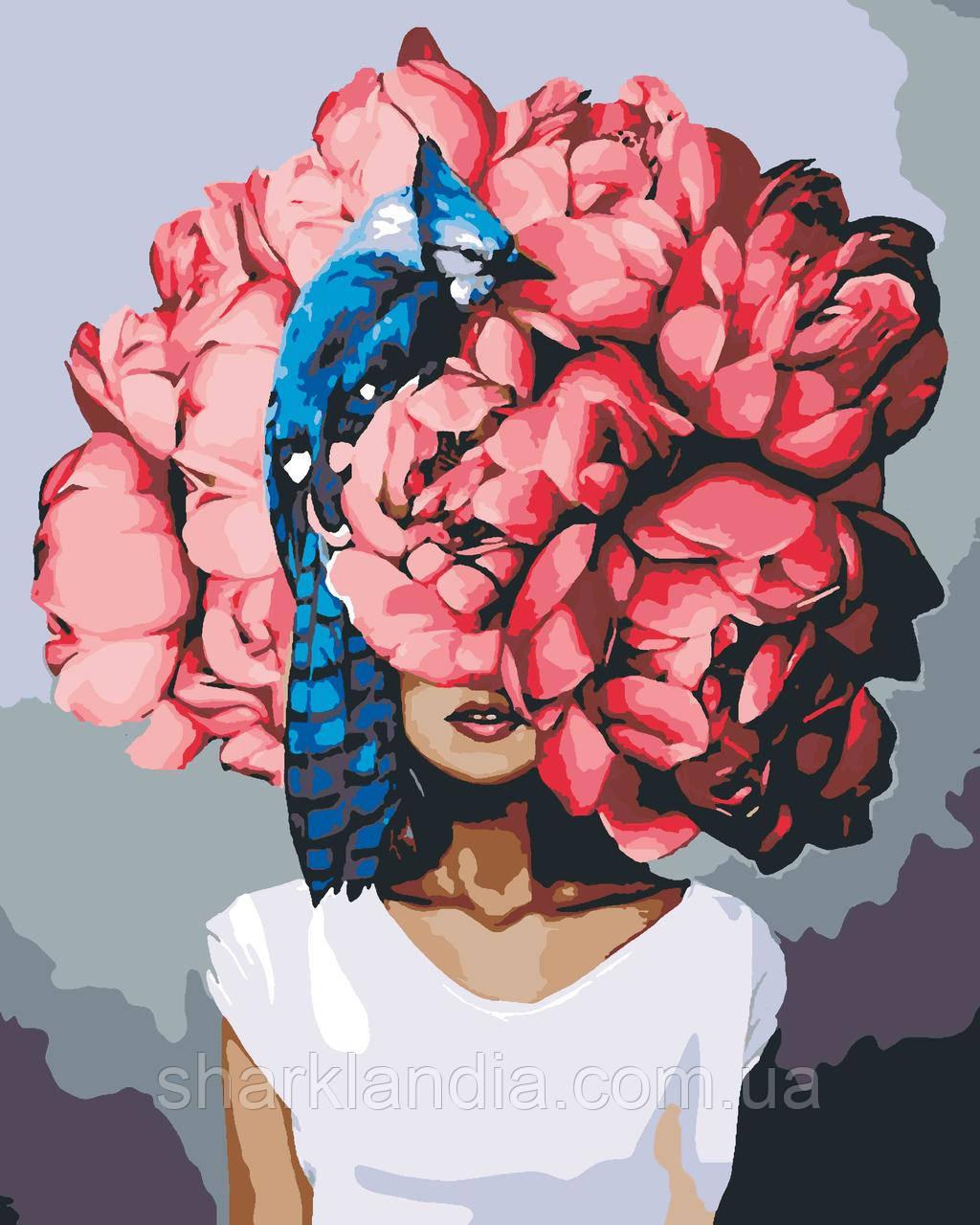 Картина по номерам Пионы Эми Джадд (цветной холст) 40*50см Барви Девушка с пионами