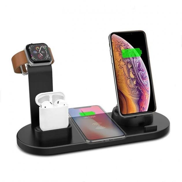 Док-станція 4в1 10 Вт. для iPhone, Samsung, Xiaomi, Apple Watch, AirPods
