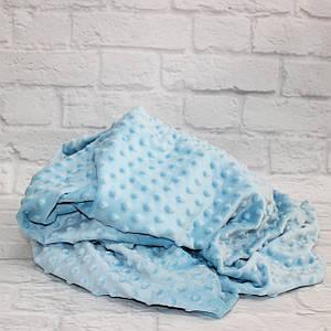 Плюшевая ткань Minky голубой (плот. 380 г/м.кв) Отрез(0,65*1,6м)