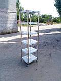 Стеллаж производственный 800х500х1800 5 полок из 201 нержавеющей стали, фото 10