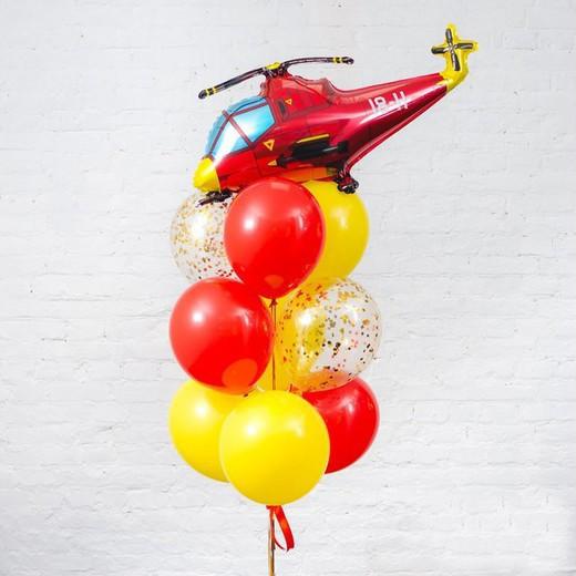 """Композиція з гелієвих кулькок на замовлення """"Фонтан з гелікоптером"""""""