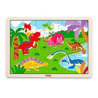Деревянный пазл Viga Toys Динозавры, 24 эл. (51460), фото 1