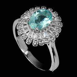 Серебряное кольцо с апатитом неоновым, 2560КЦА