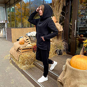 Женский спортивный костюм кенгуру черный, фото 2