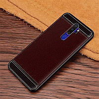 Чехол Fiji Litchi для Oppo A5 2020 силикон бампер с рифленой текстурой темно-коричневый