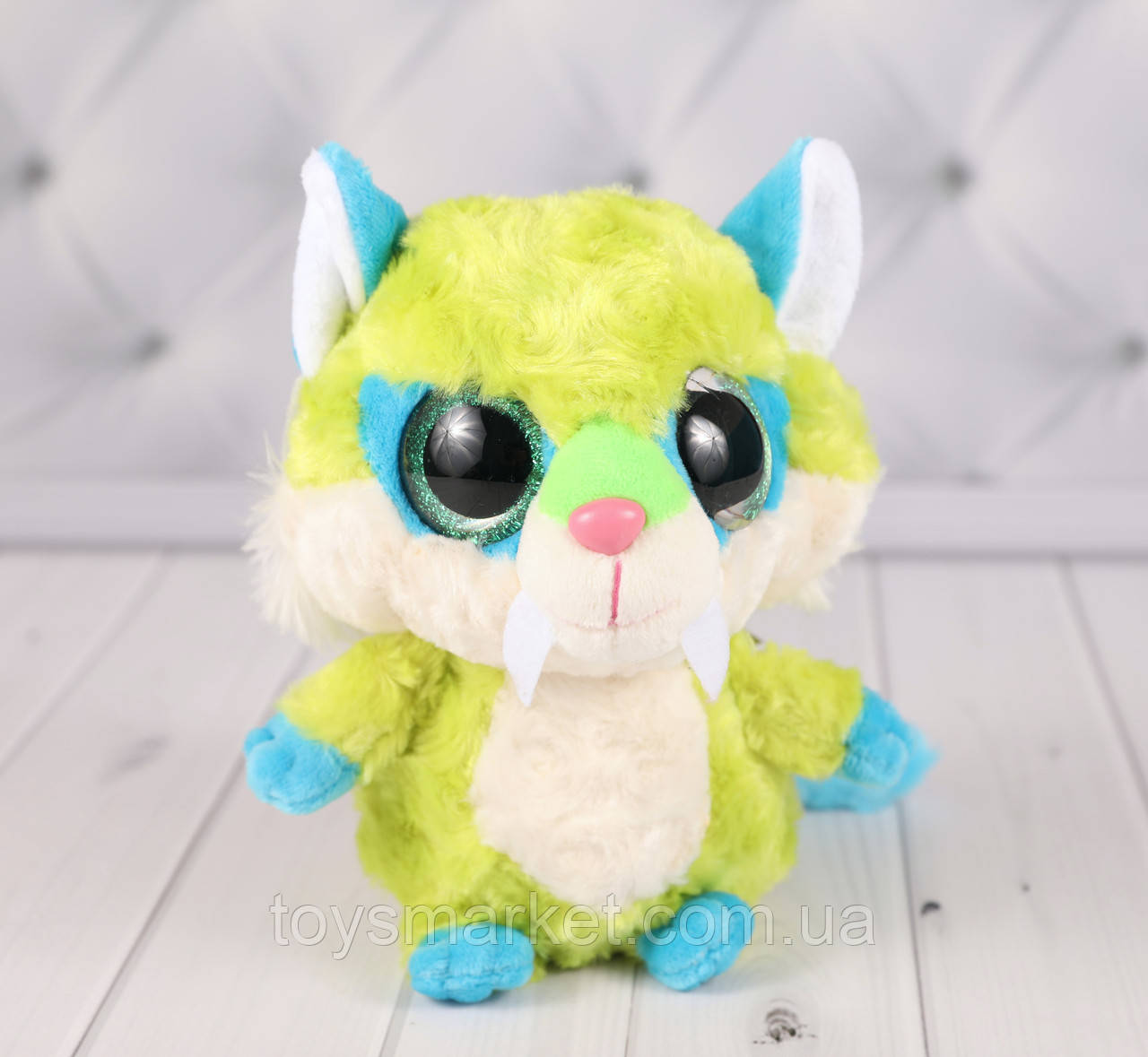 Мягкая игрушка чудо зверёк зелёный, плюшевый зверёк 17 см.