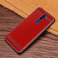 Чехол Fiji Litchi для Oppo A5 2020 силикон бампер с рифленой текстурой красный