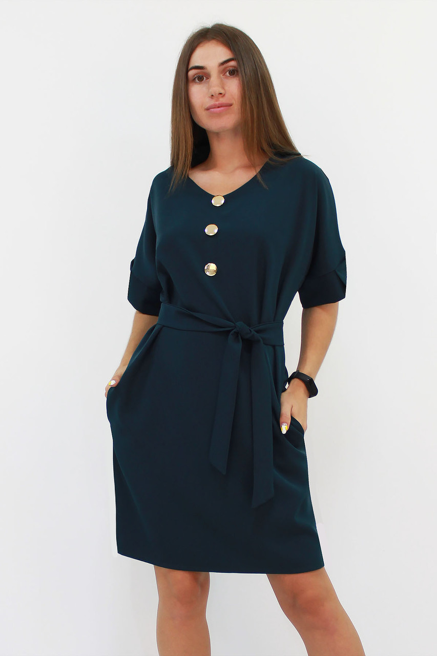 Свободное классическое платье Monika, темно-зеленый