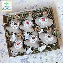 Набор елочных игрушек ручной работы (лен) в  крафт-коробке
