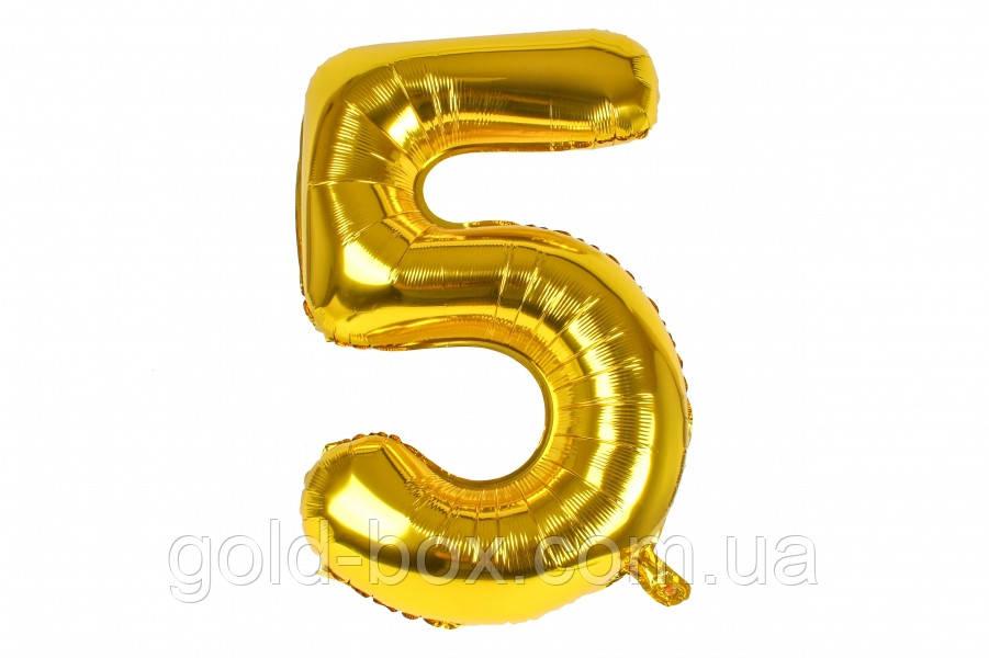 "Воздушный шар цифра ""5"" золото"