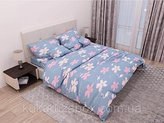 Двоспальний комплект з простий. 180х220 «ФЛАМІНГО РОМАШКА» з бязі голд