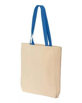 Эко сумка для сублимации из синей ручкой, размер 35х41х8 см. (с дном.)