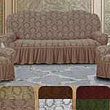 Натяжные универсальные готовые чехлы накидки на трехместные диваны  Коричневый жаккардовый Турция, фото 6