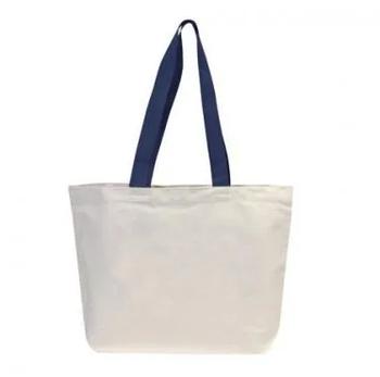 Эко сумка для сублимации 42х12х35 см. трапеция  из синей ручкой