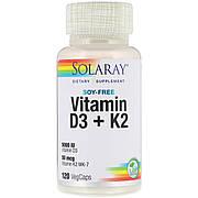 Витамин D3+K2, Soy-Free Vitamin D3 + K2, Solaray, 120 вегетарианских капсул