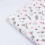 """Ткань ранфорс """"Пудровые цветочки, ландыши и веточки"""", фон - белый, ширина 240 см (№3100), фото 3"""