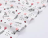 """Ткань ранфорс """"Пудровые цветочки, ландыши и веточки"""", фон - белый, ширина 240 см (№3100), фото 4"""