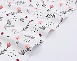 """Тканина ранфорс """"Пудрові квіточки, конвалії і гілочки"""", фон - білий, ширина 240 см (№3100), фото 4"""