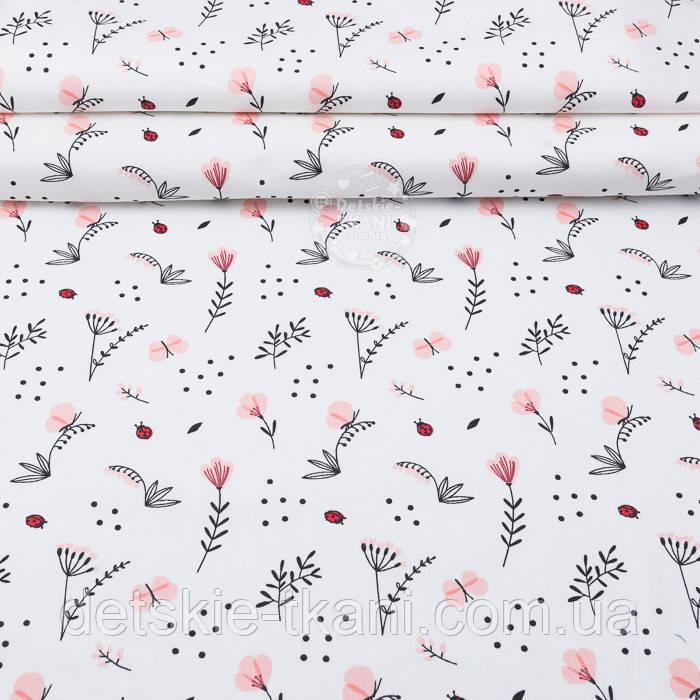 """Ткань ранфорс """"Пудровые цветочки, ландыши и веточки"""", фон - белый, ширина 240 см (№3100)"""