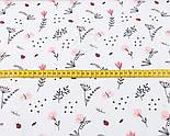 """Ткань ранфорс """"Пудровые цветочки, ландыши и веточки"""", фон - белый, ширина 240 см (№3100), фото 2"""