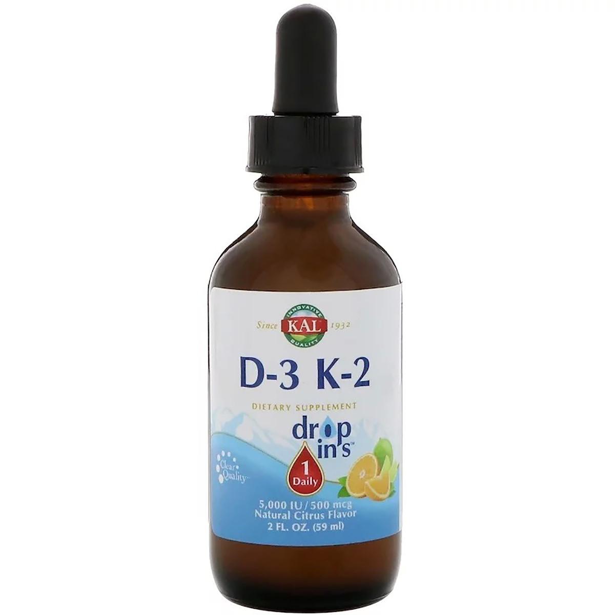Витамин D3+K2, Vitamin D-3 K-2 Drop, KAL, цитрусовый вкус, 59 мл.