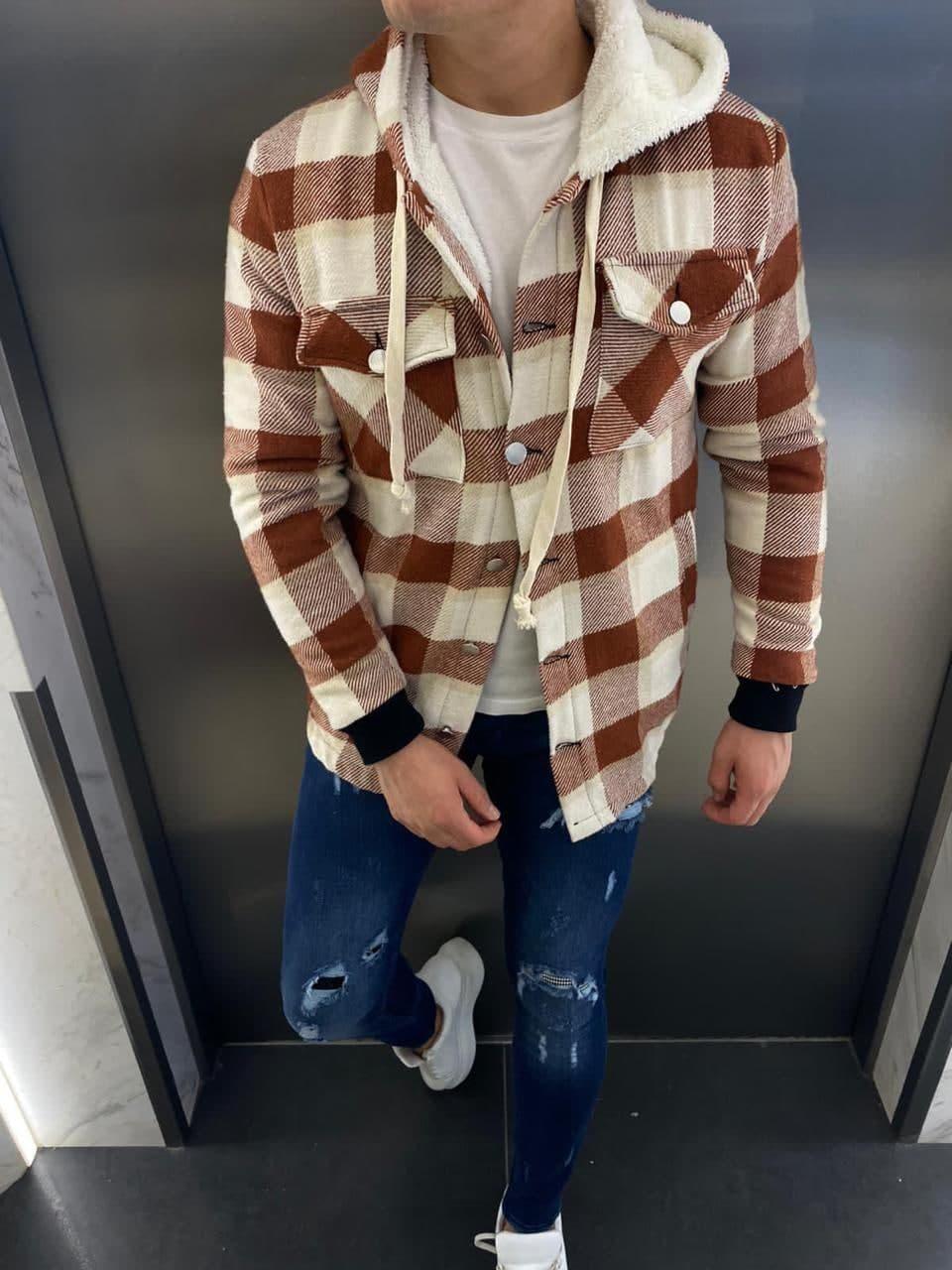 Тепла чоловіча сорочка в клітку Ламбо цегляно-біла