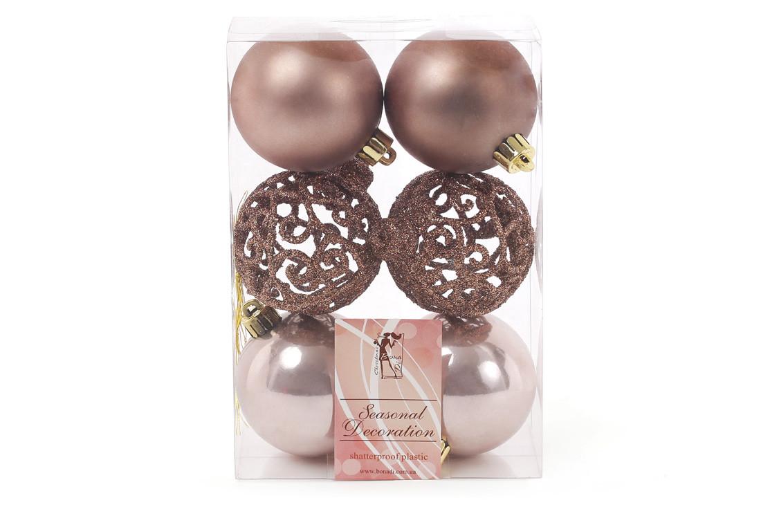 Набор елочых шаров Ажур, 6см, цвет - карамельный мокко