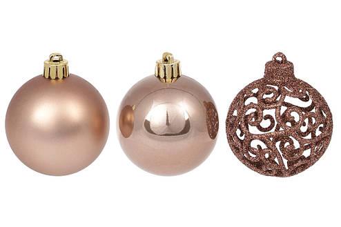 Набор елочых шаров Ажур, 6см, цвет - карамельный мокко, фото 2