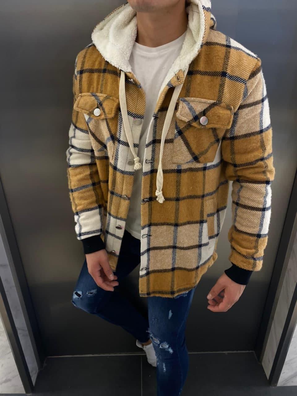 Теплая куртка рубашка в клетку Ламбо горчица