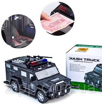 Машинка дитячий сейф з кодом і відбитком пальця CASHTRUCK   Дитячий сейф іграшка   Скарбничка поліцейська