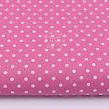 Лоскут ткани, малиновая с горошком белого цвета размером 7мм (№98), размер 28*80 см, фото 2