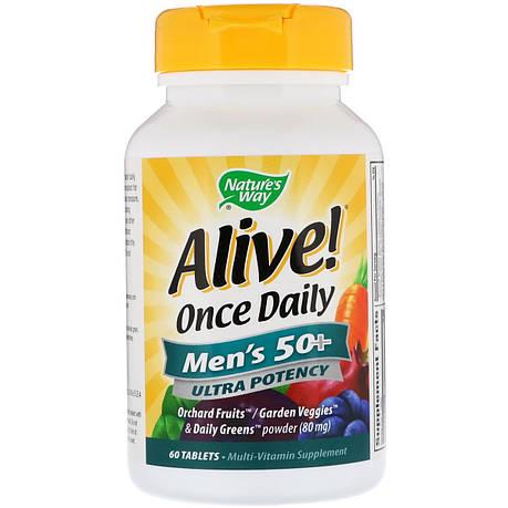 Мультивитамин для Мужчин 50+, Alive! Once Daily, Men's 50+ Multi-Vitamin, Nature's Way, 60 Таблеток, фото 2