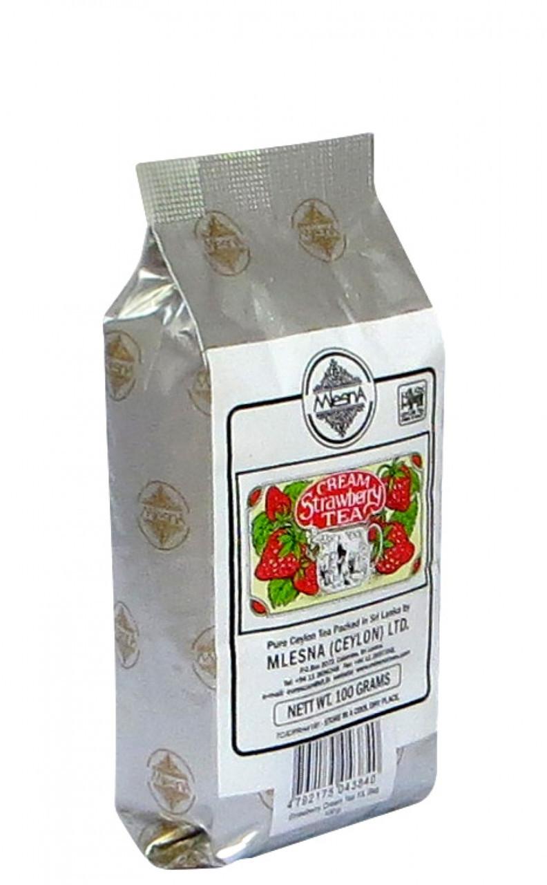 Черный чай Клубника Сливки, STRAWBERRY CREAM BLACK TEA, Млесна (Mlesna) 100г.