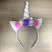Рог Единорога с ушками и цветами на ободке, белый