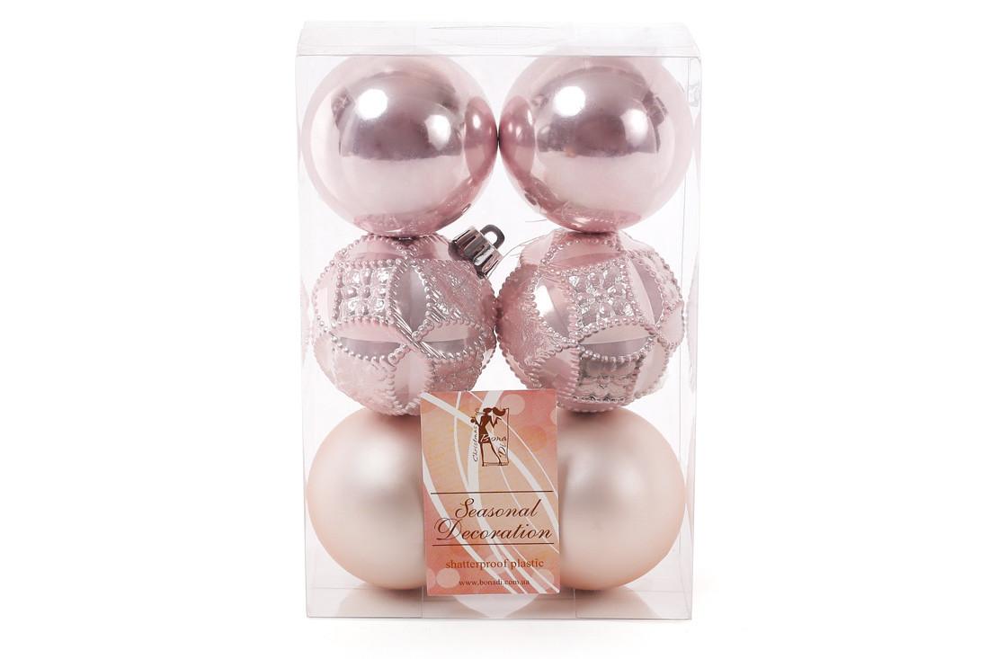 Набор елочых шаров 6см, цвет - розовый