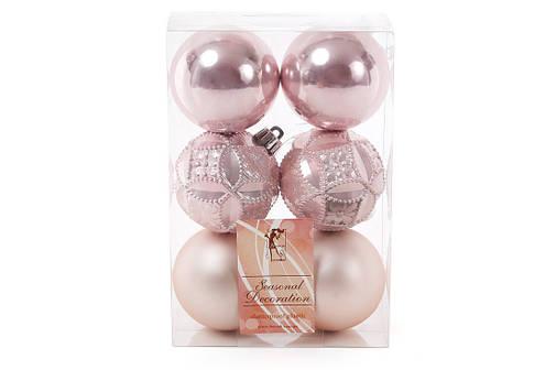 Набор елочых шаров 6см, цвет - розовый, фото 2