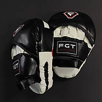 Боксерські лапи-кобри для боксу вигнуті FGT Високоякісна штучна шкіра Білий-чорний (FT-312)