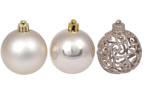 Набор елочых шаров Ажур, 6см, цвет - шампань, фото 2