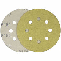 Круг шлифовальный желтый на липучке Velcro Polystar Abrasive 125 мм, P150
