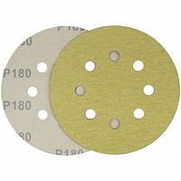 Круг шлифовальный желтый на липучке Velcro Polystar Abrasive 125 мм, P180