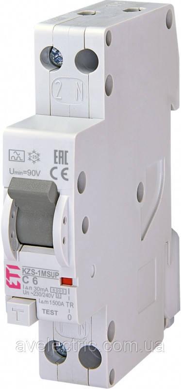 Диффер. автоматический выкл. KZS 1M SUP B 25/0, 01 тип A (6kA) (верхн.подкл.), ETI, 2175816