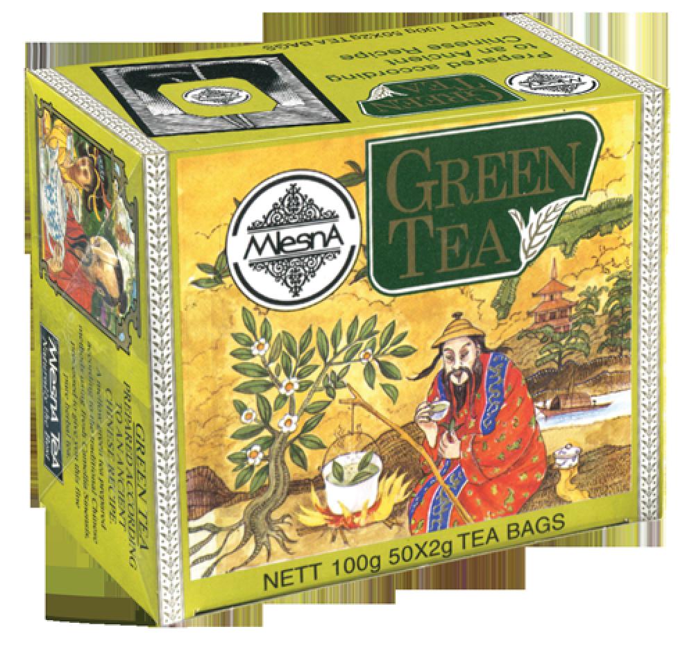 Зеленый чай, GREEN TEA, Млесна (Mlesna) 100г. (50*2г)