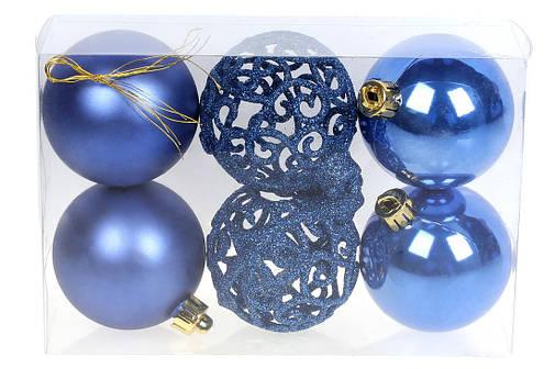 Набор елочых шаров Ажур, 6 см, цвет - королевский сини, фото 2